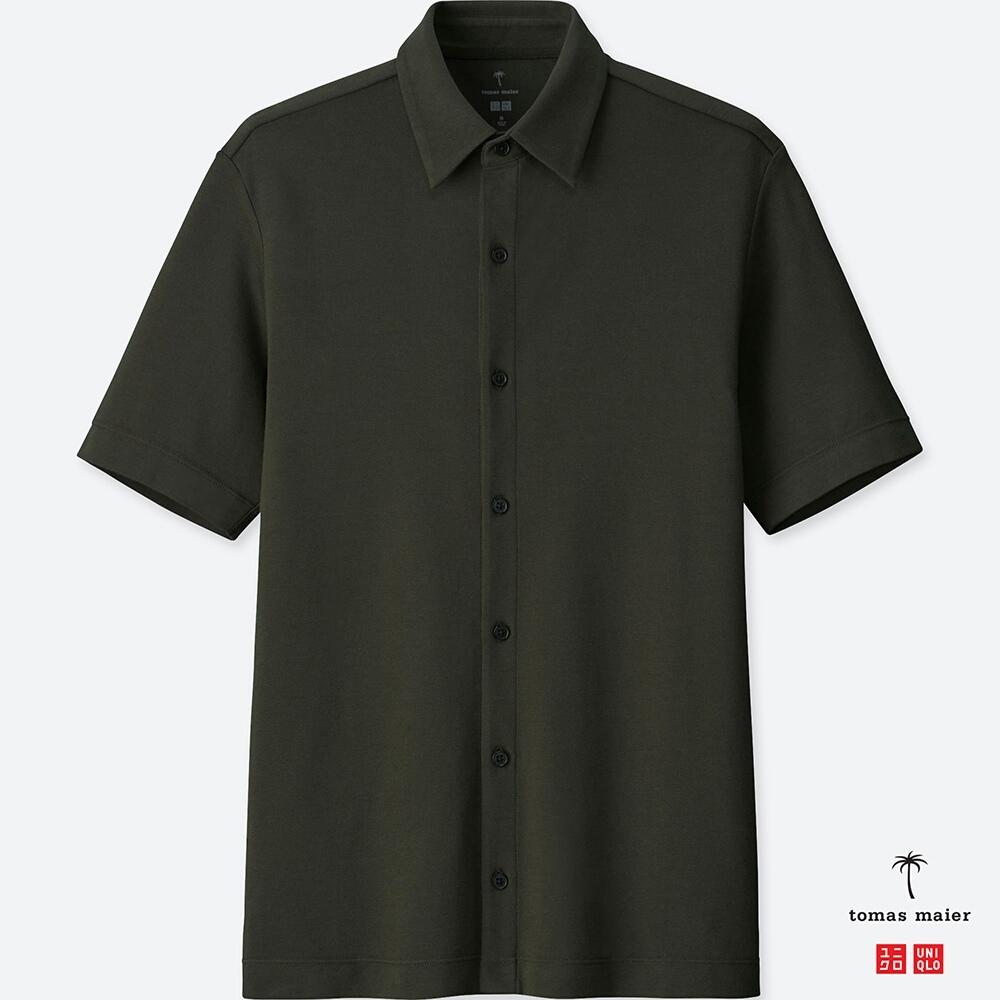 UNIQLO エアリズムポロシャツ(半袖) tomas maier 前開きポロ ビジネス メンズ ダークグリーン