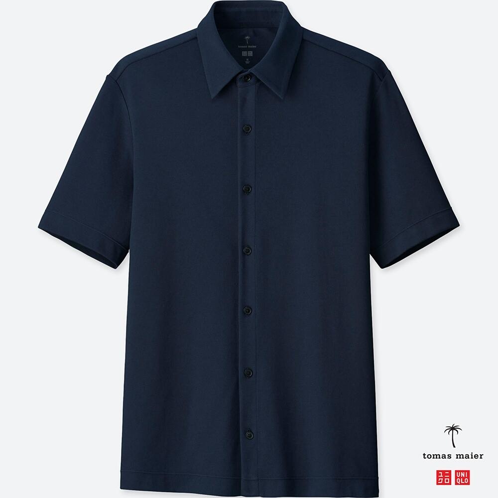 UNIQLO エアリズムポロシャツ(半袖) tomas maier 前開きポロ ビジネス メンズ ネイビー 紺